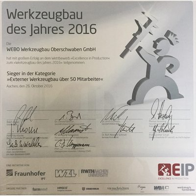 Excellence in Production Sieger-Urkunde 2016